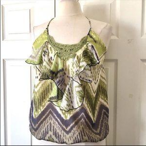 Hale Bob 100% Silk Halter Shirt Size Small